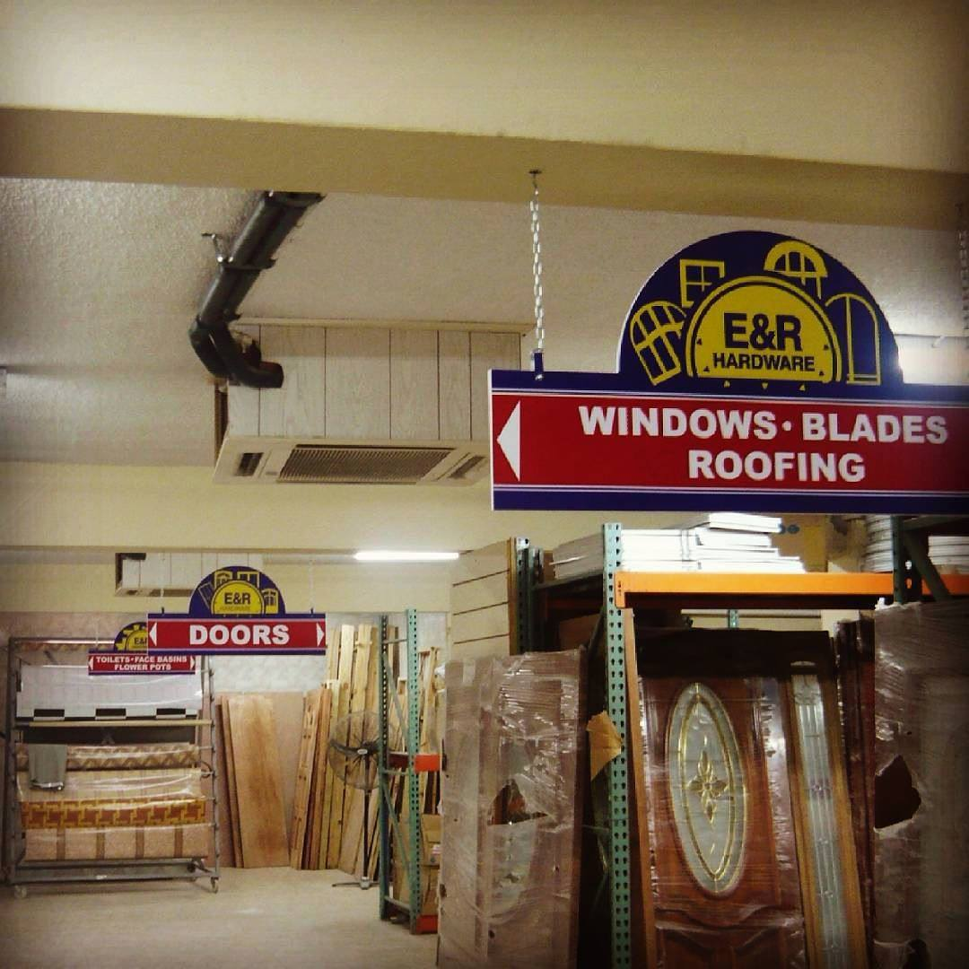 Recently installed hanging display sign by