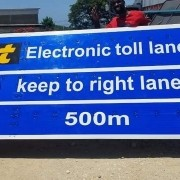 electronic toll lane 500m ahead please keep right… #ideadelivered #printbigja