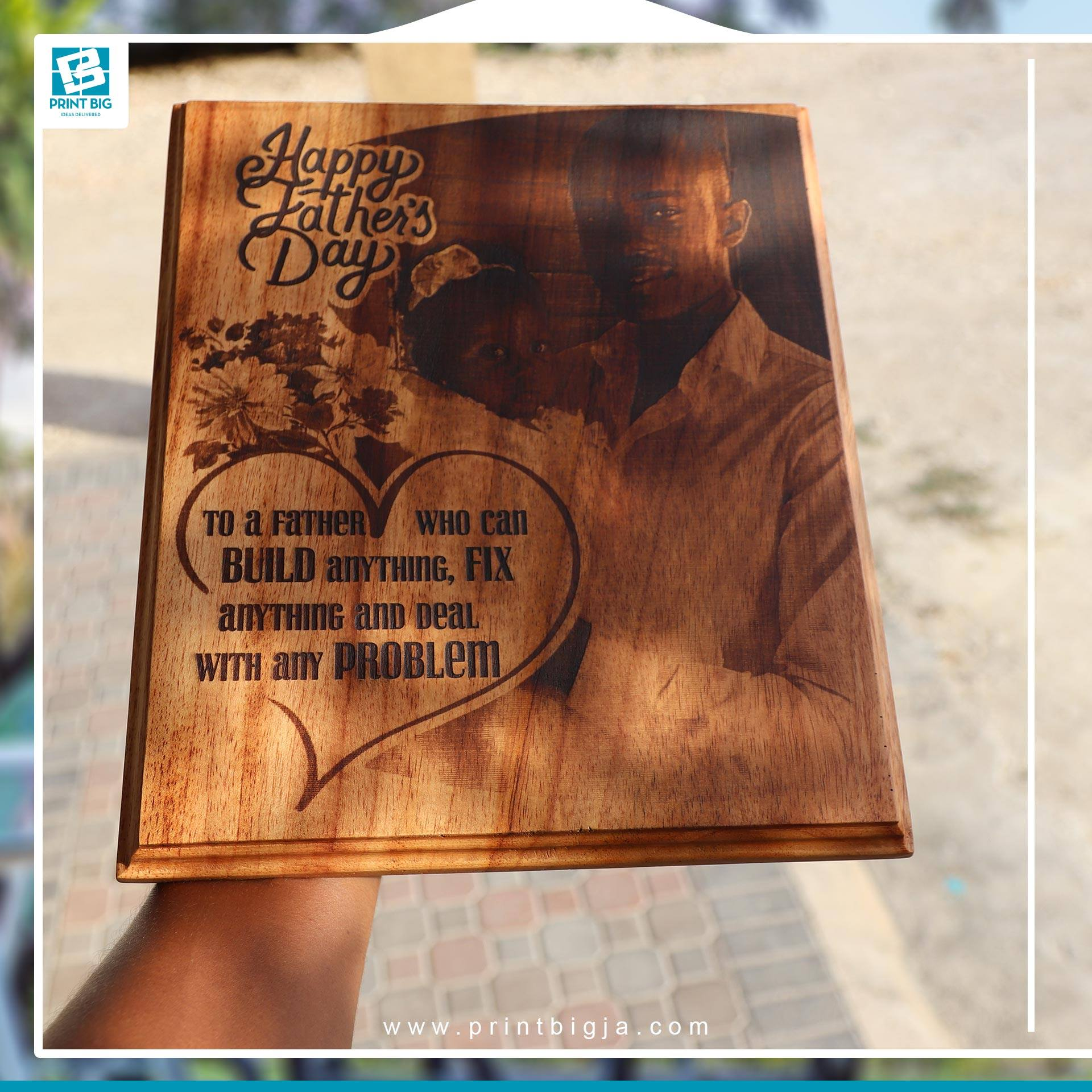 Custom laser engraved photo on wood plaque We